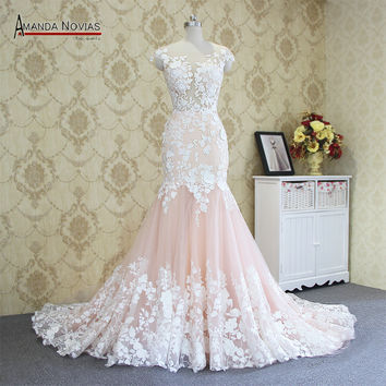 2017 Hot sale sexy mermaid lace wedding dress 100% real photos amanda novias wedding dress