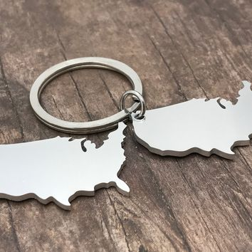 Set of United States Keychains, Aluminum Keychains, Ldr Gift , Anniversary Gift