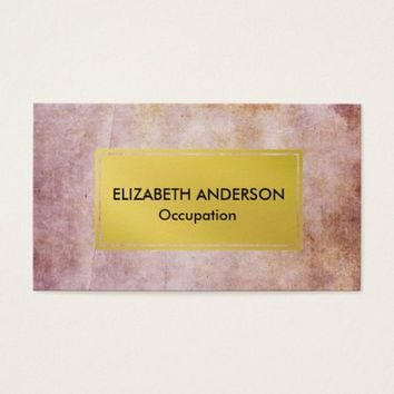 Chic Pink Distressed Grunge, Gold Business Card