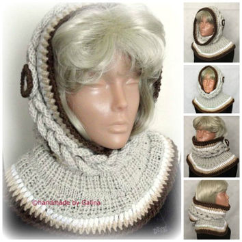 Beige Hooded Scarf, Chunky Cowl, Infinity Hood Scarf, Knit Hood Hat, Hoodie Hood, Gift For Her, Winter Women Accessories With Button
