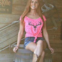 sexy and hot neon pink deer skull big buck hunting clothing. Tie up crop top is fashionable yet country