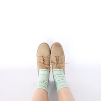 Vintage 80s Tan Suede Desert Shoes // Women's by vauxvintage