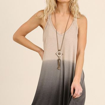 Smoky Ombre Dip Dyed Dress