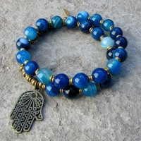 Calm and Communication, Blue Agate 27 Bead Wrap Mala Bracelet