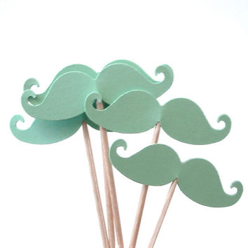 24 Light Green Mustache Party Picks, Cupcake Toppers, Food Picks, Toothpicks, Drink Picks - No181