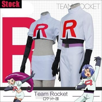 [Stock] Game Anime  Go!Team Rocket Jessie Musashi James Kojirou cosplay costume S-XXL Full set Hot New 2017Kawaii Pokemon go  AT_89_9