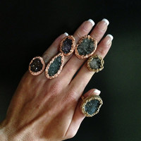 Druzy Agate Ring with Gold- Cocktail Ring, Statement Ring, Natural Raw Rough Ring, Stackable Ring,Earthy, Bold Chunky Mineral , Size 6