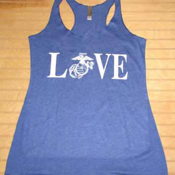 Women's Tri Blend Racerback Tank Top LOVE Marines, Marine's Wife