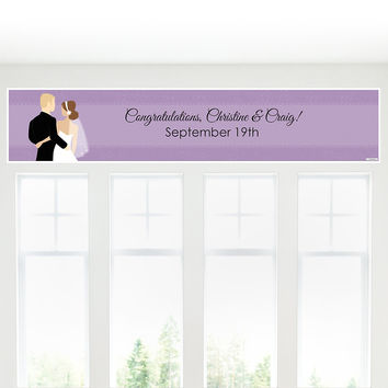 Custom Wedding Couples Purple - Personalized Bridal Shower Banners
