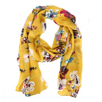 Joules Womens Gold Posy Wensley Scarf