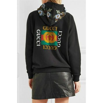Women's and Men's Casual Fashion Vintage Embroidered Zip Long Sleeve  GUCCI  Sweater
