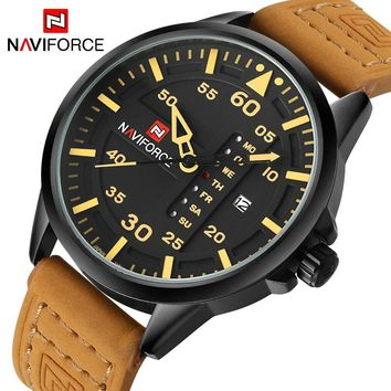 NAVIFORCE NF9074M Luxury Army Military Men's Quartz Leather Strap Sports Watch