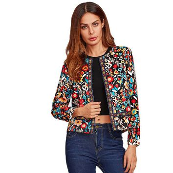Women Multicolor Collarless Single Breasted Elegant Jacket