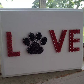 LOVE With A Paw Custom String Art on Wooden Plaque, Gift for pet lover, paw print, mother's day gift