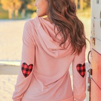 Dusty Pink Hoodie with Plaid Heart Elbow Patches