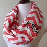 Monogrammed Infinity Scarf - Chevron Scarf - Embroidered Scarf - Personalized Infinity Scarf - Zig Zags