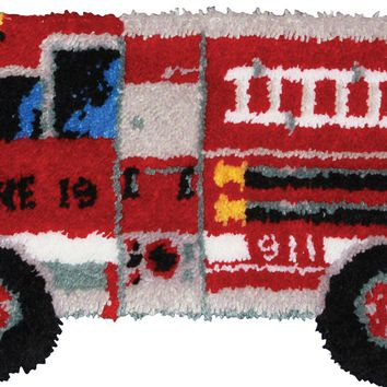 "Fire Truck Shaped Latch Hook Kit 32""X17"""