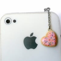Pink Heart Frosted Sugar Cookie Dust Plug, For Phone, iPhone or iPod, Cute :D