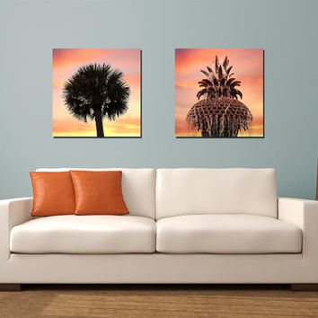 Charleston Canvas Set - Set of 2 Gallery Wrapped Canvas, Pineapple Fountain and Palm Tree, Pink Orange and Yellow Home decor, sunset colors