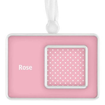 Rose Pink Personalized Polka Dot Ornament Silver Plated Framed Ornament