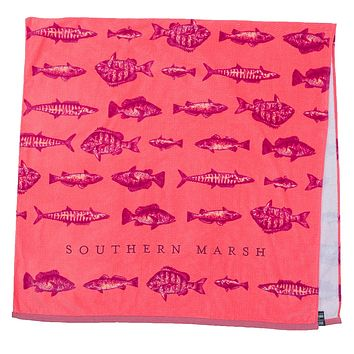 Riptide Beach Towel in Coral by Southern Marsh
