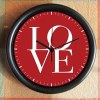 LOVE  red  Etsy 10 inch Resin Wall Clock Under by Backstreetcrafts