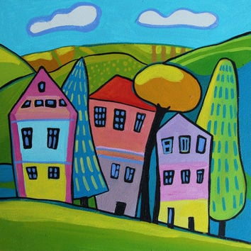 Houses, landscape with houses, wall art , room decor, colorful art, acrylic painting