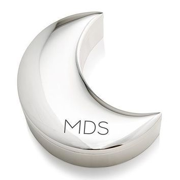 Personalized Silver Half Moon Jewelry Box - Modern Initials Etching (Pack of 1)