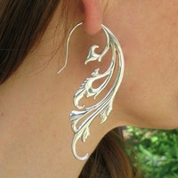 Breathless earrings - Solid sterling silver - angel wings, tribal silver