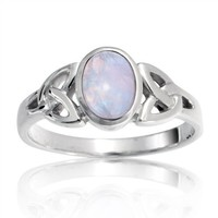 Bling Jewelry .925 Sterling Silver Celtic Triquetra Moonstone Knot Ring - size 5