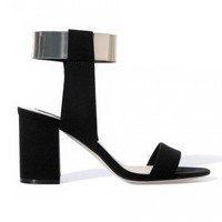 LUCLUC Black Metallic Round Foot High-heeled Cotton Shoes - LUCLUC