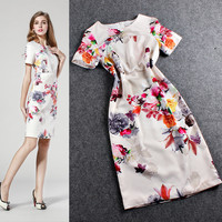 Floral Printed Casual Zipper Back Mini Dress
