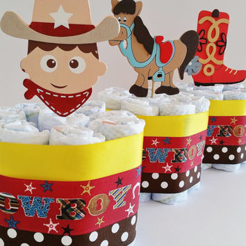 Cowboy Diaper Cake, Baby Boy Diaper Cake, Mini Diaper Cakes, Cowboy Center Pieces, Baby Shower Decor