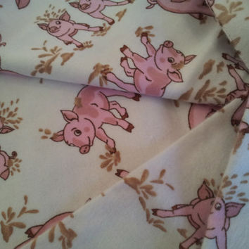 Cotton Flannel Fabric. White with Pigs.