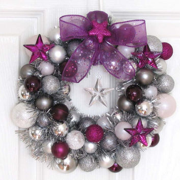 Christmas Ornament Wreath Purple, Silver and White