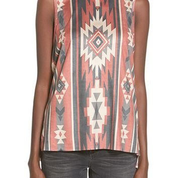 Junior Women's Ten Sixty Sherman Geo Print Faux Suede Tank,
