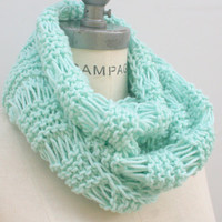 Mint Green Scarf Mint Scarf Infinity Scarf Hand Knit Inifnity Scarf Women Chunky Scarves - by PIYOYO