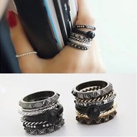 Jewelry Shiny New Arrival Gift Korean Luxury Accessory Vintage Stylish Crystal Diamonds 6-pcs Ring [6586350663]