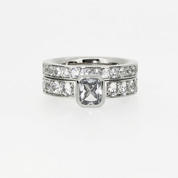 2.25ct Diamond engagement ring set with 1.00ct Radiant cut diamond, bezel, solitaire, emerald cut diamond, unique, white gold, diamond ring