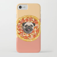 Pug Pizza iPhone & iPod Case by Lostanaw