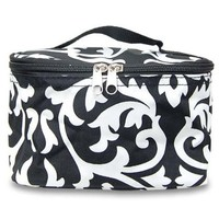 World Traveler Black White Damask Cosmetic Makeup Case