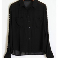 Spiked Sleeves Blouse