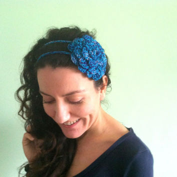 Denim Blue Bandana, Navy Blue Headband, Flower Headband, Crochet Flower, Vintage Hair Decor, Rockabilly Hair Accessories, Royal Blue Rose