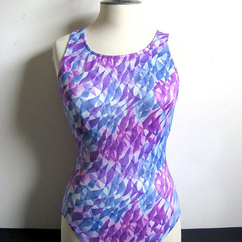 Gabar Vintage 1980s Swim Suit Purple Abstract Bathing Suit 8