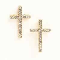 Rhinestone Cross Earrings - LoveCulture