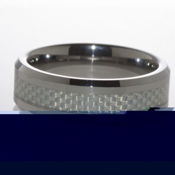 Tungsten Carbide Band Ring Grey Carbon Inlay Low Beveled Edge Fiber 8mm Wide