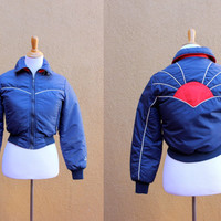 Vtg 70's Puffy Down Ski Jacket Women's Small Navy White Red Cropped Japanese inspired Gerry