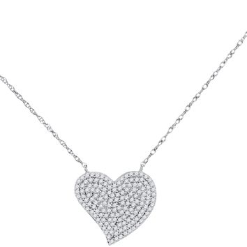 10kt White Gold Women's Round Diamond Heart Cluster Pendant Necklace 1-3 Cttw - FREE Shipping (US/CAN)