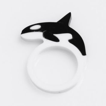 Orca / Killer Whale Ring, Novelty Ring, Laser Cut Acrylic Ring, Statement Ring,  Stacking Ring