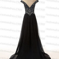 Sexy long black formal evening dress,cap sleeve a-line prom dress,handmade crystal/beading chiffon long black women evening dress